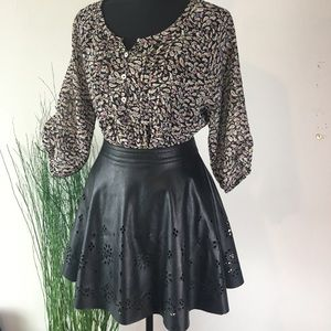 My Michelle Vegan Leather Flair Skirt